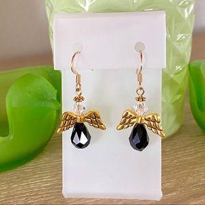 Angel Earrings-Handmade-Black/Gold-NEW